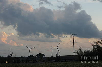 Painting - Wind Mills - Racine City Landscape - Michigan Lake In Wisconsin By Adam Asar by Celestial Images
