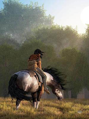 Native American Woman Digital Art - Wind Of The Forest by Daniel Eskridge