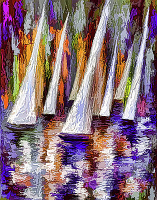 Painting - Wind On Sails - 1 by OLena Art Brand