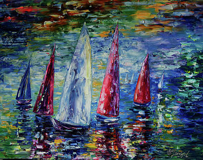 Boating On The Seine Painting - Wind On Sails  by Lena  Owens OLena Art