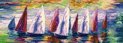 Impasto Oil Digital Art - Wind On Sails Panorama by Art OLena