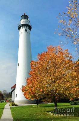 Wind Point Lighthouse In Autumn Art Print