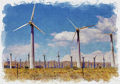 Watercolor Dragonflies - Wind Power by Ricky Barnard