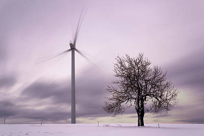 Wind Power Station, Ore Mountains, Czech Republic Art Print