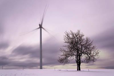 Wind Power Station, Ore Mountains, Czech Republic Art Print