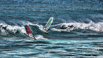 Photograph - Wind Surfers In Hawaii by Shirley Mangini
