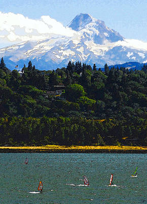Wind Surfing Mt. Hood Art Print by David Lee Thompson