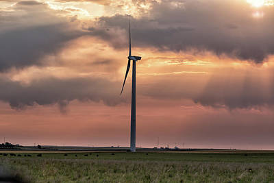 Photograph - Wind Turbine And A Colorado Sunrise by Tony Hake