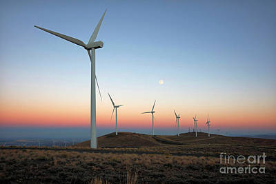 Photograph - Wind Turbines At Moonrise by Martin Konopacki