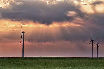Photograph - Wind Turbines At Sunrise by Tony Hake