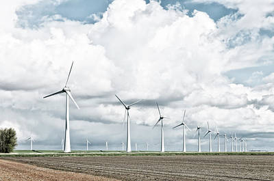 Flevoland Photograph - Wind Turbines Landscape by Hans Engbers