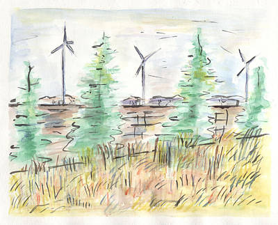 Painting - Wind Turbines by Matt Gaudian