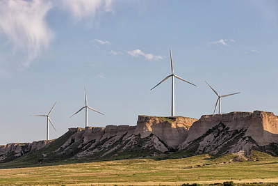 Photograph - Wind Turbines Top A Colorado Butte by Tony Hake