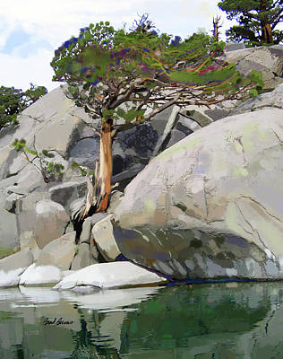 Cedars Painting - Wind, Water And Granite by Brad Burns