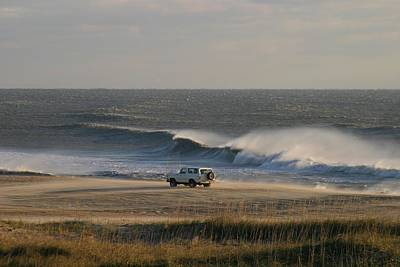 Wind, Waves And Fisherman In An Suv Art Print by Skip Brown