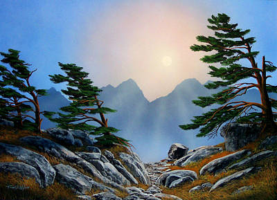 Windblown Pines Print by Frank Wilson
