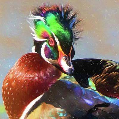 Wood Duck Digital Art - Windblown Wood Duck by Allen Kurth
