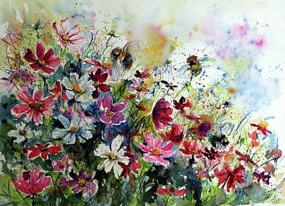 Cosmos Flowers Painting - Windflowers With Bees II by Kovacs Anna Brigitta