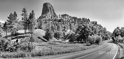 Photograph - Winding Around Devils Tower Black And White by Adam Jewell
