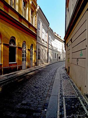 Photograph - Winding Cobbled Street In Prague by Barbara Budish