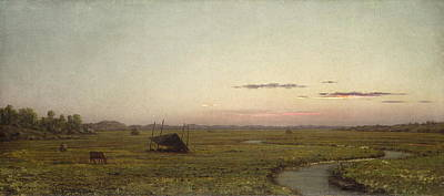 Famous Fish Abstract Painting - Winding River, Sunset, C. 1863 by Martin Johnson Heade