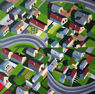 Row Homes Painting - Winding Road, Quartered by Toni Silber-Delerive