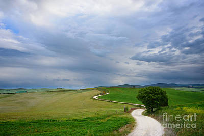 Photograph - Winding Road To A Destination In A Tuscany Landscape by IPics Photography