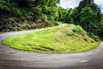 Art Print featuring the photograph Winding Road With Sharp Bend Going Up The Mountain by Semmick Photo