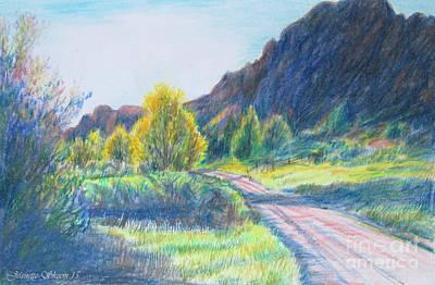 Tuscan Sunset Drawing - Winding Roads by Stephanie  Skeem