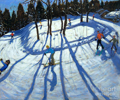 Ski Painting - Winding Trail Morzine by Andrew Macara