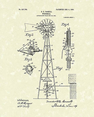 Windmill 1906 Patent Art Art Print by Prior Art Design