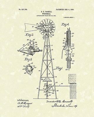 Windmill 1906 Patent Art Print by Prior Art Design