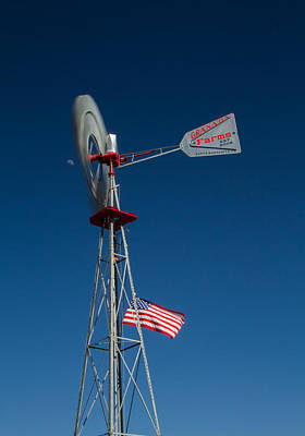 Photograph - Windmill Moon And American Flag by Roger Mullenhour