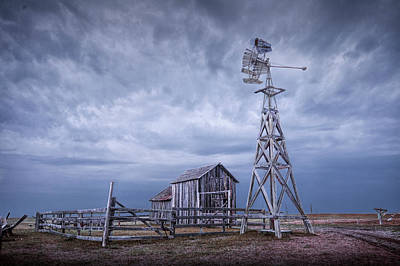 Photograph - Windmill And Barn At 1880's Town Plains Frontier Museum In South Dakota by Randall Nyhof