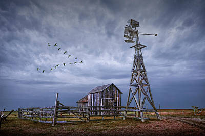 Photograph - Windmill And Barn With Flying Geese by Randall Nyhof