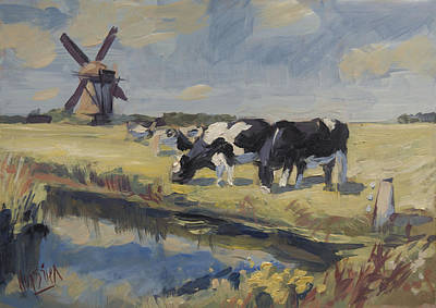 Painting - Windmill And Cows by Nop Briex