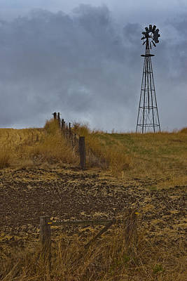 Photograph - Windmill And Fence by Roger Mullenhour