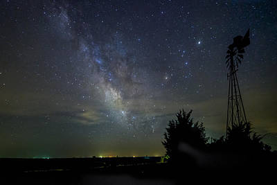 Photograph - Windmill And Milky Way by Scott Bean