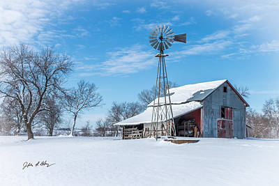 Old Windmill Wall Art Photograph - Windmill And Old Barn In Fresh Snow by Jeffrey Henry