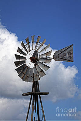 Photograph - Windmill And The Big Blue Sky by Ella Kaye Dickey