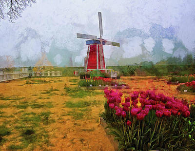 Photograph - Windmill And Tulips by Thom Zehrfeld