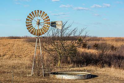 Windmill And Water Tank Art Print