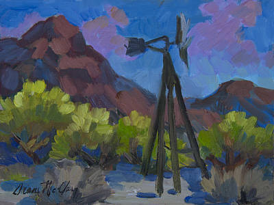 Painting - Windmill At Keys Ranch Joshua Tree by Diane McClary