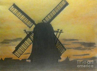 Painting - Windmill At Sunset by Francine Heykoop
