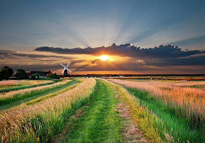 Norfolk Wall Art - Photograph - Windmill At Sunset by Meirion Matthias