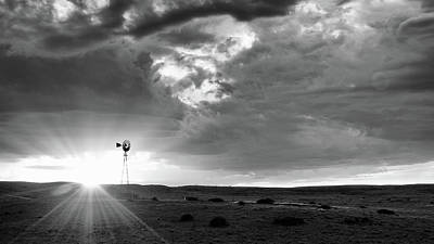 Windmill At Sunset Art Print by Monte Stevens