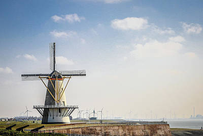 Photograph - Windmill at the seaside of Vlissingen - Holland by Fotografie Jeronimo