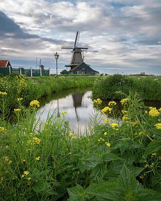 Netherlands Windmill Photograph - Windmill At Zaanse Schans by James Udall