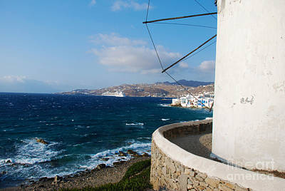 Island Photograph - Windmill Bay View Of Mykonos Island Greece by Just Eclectic