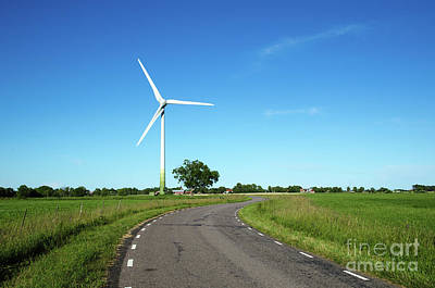 Art Print featuring the photograph Windmill By A Country Road Side by Kennerth and Birgitta Kullman
